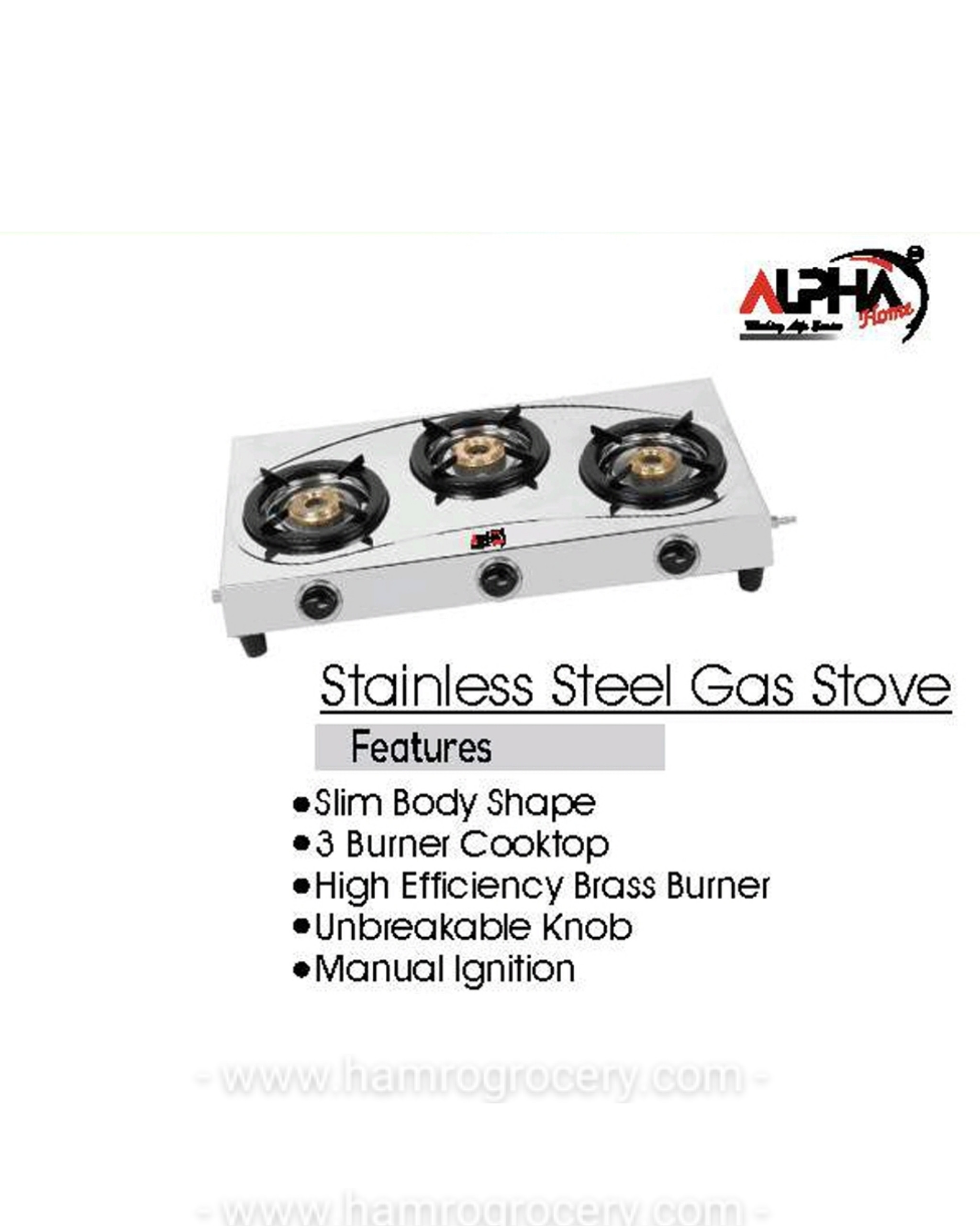 ALPHA L.P.G GAS STOVE STAINLESS STEEL GAS STOVE 3 BURNER MANUAL